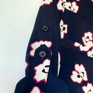 EXPRESS Navy Floral Portofino Shirt